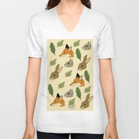 woodland V-neck T-shirts featuring woodland by Melrose Illustrations