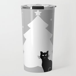 A black cat and Christmas tree Travel Mug