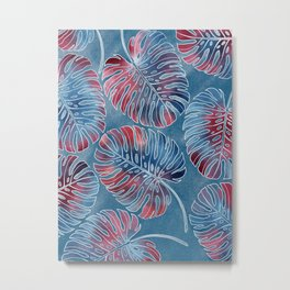 Monstera leaves or swiss cheese plant, colorful and playful Metal Print