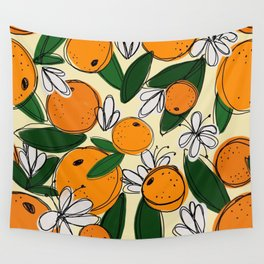 Oranges in Bloom Wall Tapestry