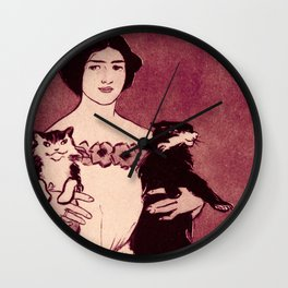 Vintage Crazy Cat Lady in Pink Wall Clock