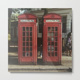Telephone Box -  Telephone -  Urban -  Streets -  London -  Arch - Vintage illustration. Retro décor. Metal Print