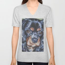 Beautiful black and tan Cavalier King Charles Spaniel Dog Painting by L.A.Shepard Unisex V-Neck