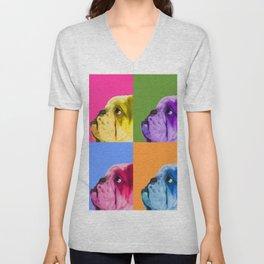 English Bulldog Pop Art portrait. Unisex V-Neck