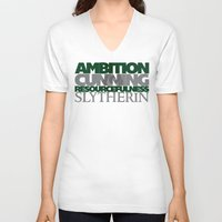 slytherin V-neck T-shirts featuring Slytherin by Fanboy's Canvas