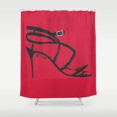 Strappy Heel Fashion Illustration Shower Curtain