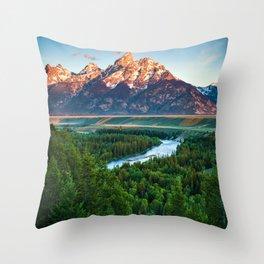 Snake River and the Grand Titan Mountains Throw Pillow