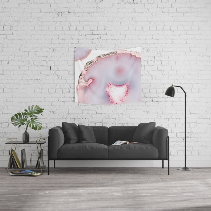 Pink Rose Gold Blush Agate Marble Gemstone Wall Tapestry