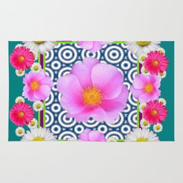 Teal Color Art Fuchsia Gerbera Daisy Flowers Pink Roses Patterns Rug