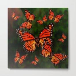 Dark Green Orange Monarch Butterflies Migration Metal Print