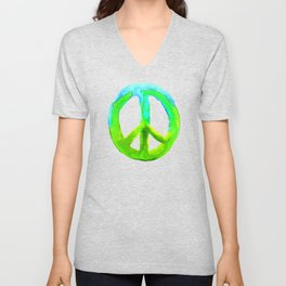 Turquoise Lime Watercolor Tie Dye Peace Sign Unisex V-Neck