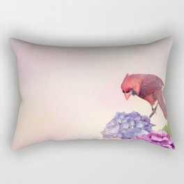 Northern Cardinal bird with hydrangea flowers Rectangular Pillow