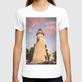 Marblehead Lighthouse at Sunset From the Shore Landscape Photograph T-shirt