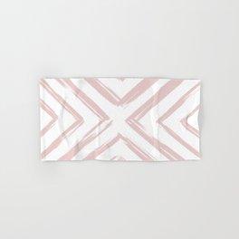 Minimalistic Rose Gold Paint Brush Triangle Diamond Pattern Hand & Bath Towel