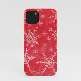 Snowflakes Christmas Red iPhone Case
