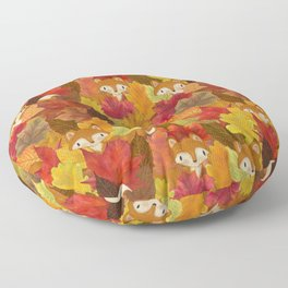Foxes Hiding in the Fall Leaves - Autumn Fox Floor Pillow