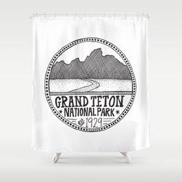 Grand Teton National Park Illustration Shower Curtain