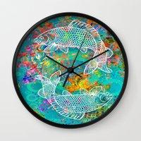 yin yang Wall Clocks featuring YIN & YANG by AlyZen Moonshadow