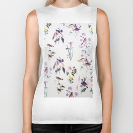 Vintage chic pink teal purple floral birds pattern Biker Tank