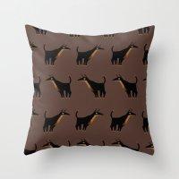 doberman Throw Pillows featuring Doberman - Pattern by Reimena Ashel Yee