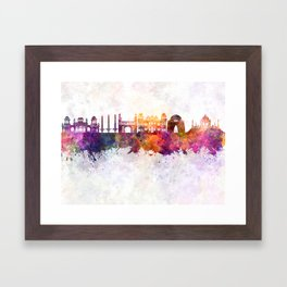 Karachi skyline in watercolor background Framed Art Print