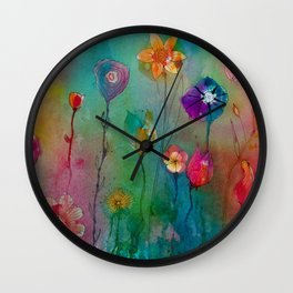 Colorful flowers painting watercolors art illustration Wall Clock