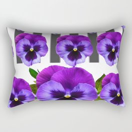 WHITE LILAC & PURPLE PANSY FLOWERS ART Rectangular Pillow