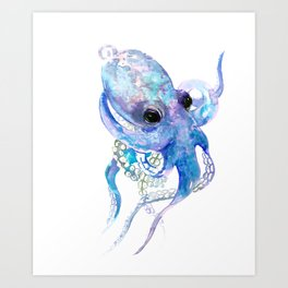 Octopus, sky blue, royal blue sea world underwater scene, beach house art Art Print