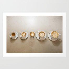 Espresso 5 ways Art Print