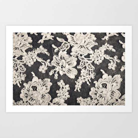 black and white lace- Photograph of vintage lace Art Print