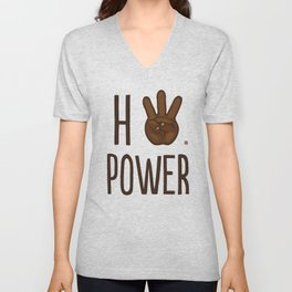 HiiiPower (w/text) : Chocolate Unisex V-Neck
