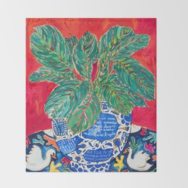 Prayer Plant in Blue-and-White Pot on Swan Table Cloth After Matisse Painting Throw Blanket