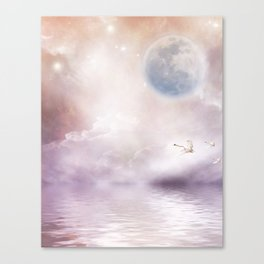 Swans Flying Over A Misty River Canvas Print
