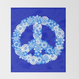 Peace Sign Floral Blue Throw Blanket