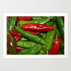 Green and Red Peppers Art Print