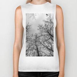 Creepy woods, black and white Biker Tank