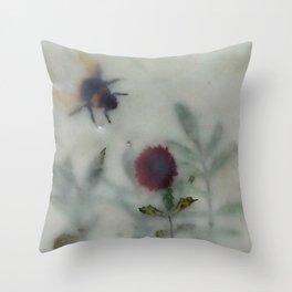 Bee in the Garden (encaustic) Throw Pillow