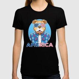 4th Of July - Happy Pitbull On America Day T-shirt