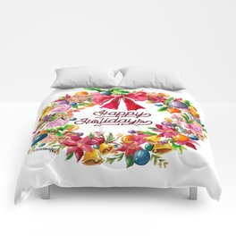 Christmas Wreath Painting Illustration Design Comforters