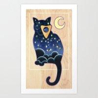 ouija Art Prints featuring Ouija Cat by Kiki Stardust (OLD)