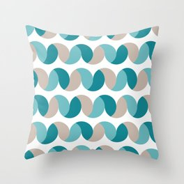 Abstract geometric waves teal & cream Throw Pillow