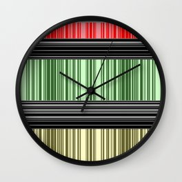 Red-yellow - green stripes. Wall Clock