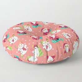 Pink Winter Forest with Cute Snowmen and Santas Floor Pillow