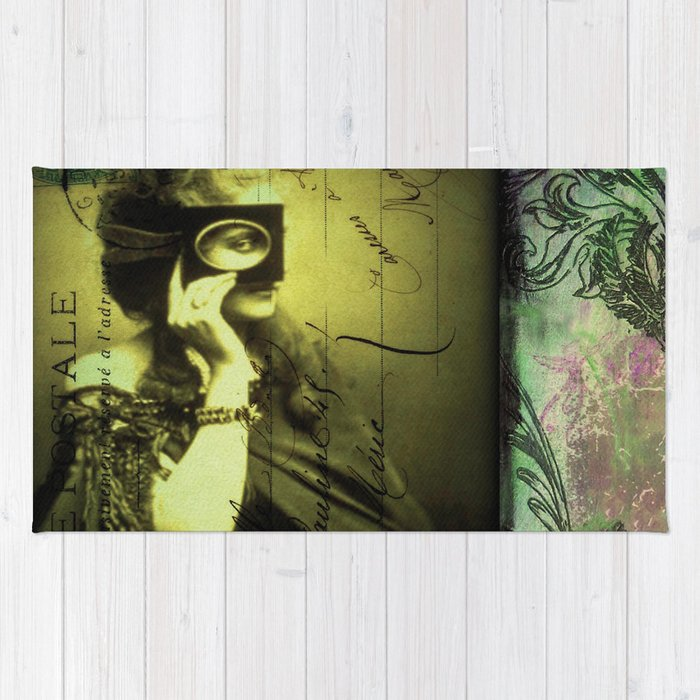 The Countess - print of a mixed media collage, surreal victorian romantic Rug