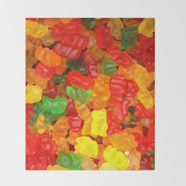 red orange yellow colorful gummy bear Throw Blanket