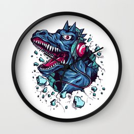 Dino with Headphones BLUE Orient Wall Clock
