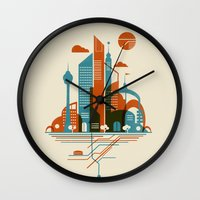 subway Wall Clocks featuring From the Subway to the Sky by Jay Fleck