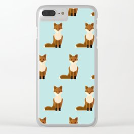 Foxes on blue Clear iPhone Case