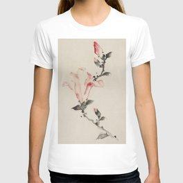 Pink Blossom on a Stem, Japanese fine art T-shirt