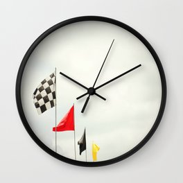 Race Day Checkered Flags Wall Clock